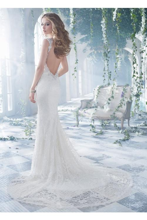 V Neck Sparkle Embroidery Sheath Lace Patterns Wedding Dress