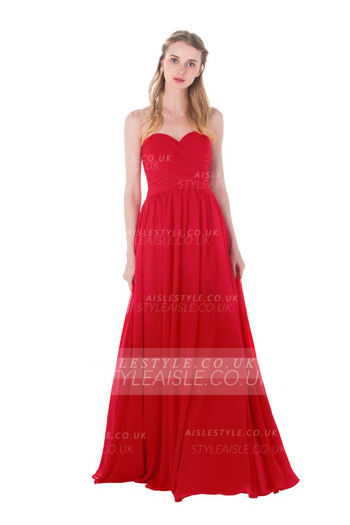 Red Long Pleated A-line Sweetheart Chiffon Beach Bridesamid Dress