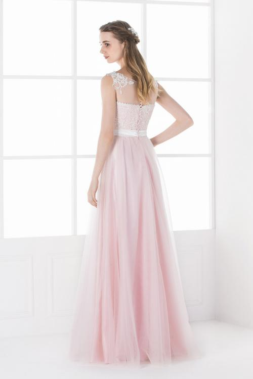 Lace Appliqued Illusion Neck A-line Pink Tulle Bridesmaid Dress with Ribbon