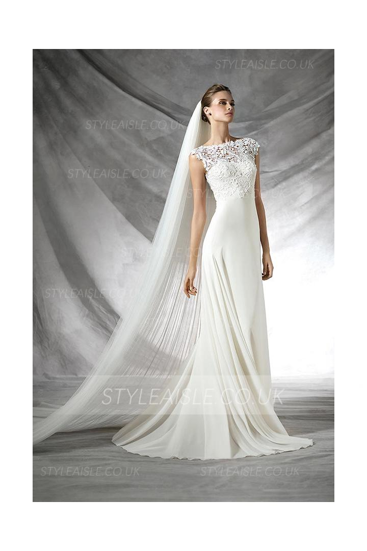 Bateau Neck Cap Sleeved Sophisticated Lace Top Sheath Long Chiffon Wedding Dress