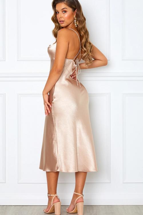 Sheath/Column Spaghetti Straps Sleeveless Tea-length Long Charmeuse Bridesmaid Dresses