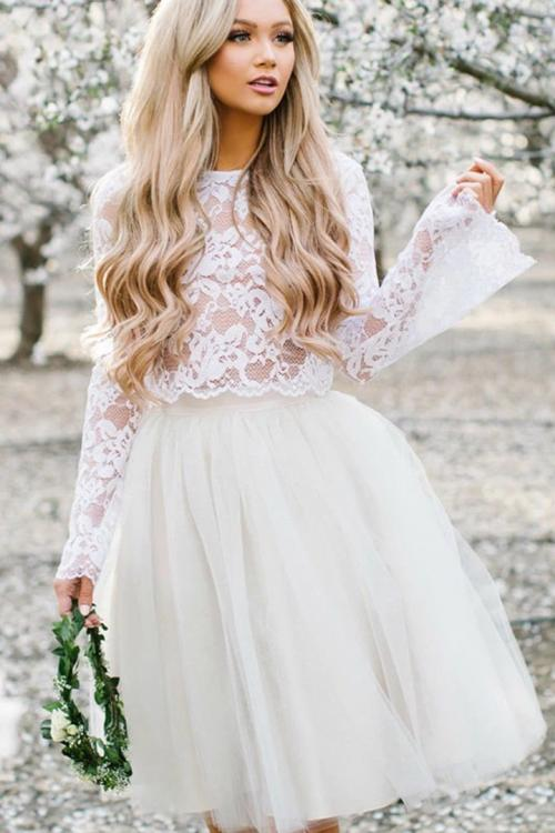 Two Piece A-line Long Sleeves Lace Knee length Short Wedding Dresses with Tulle Underskirt