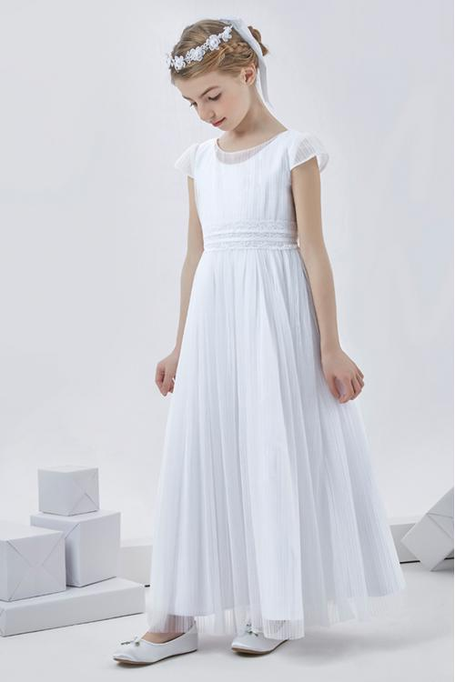 Nectarean A-line Short Sleeve Floor-length Tulle Communion Dresses