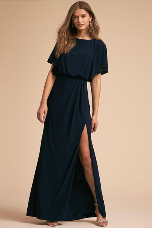 A-line Bateau Neck Short Sleeves Split Floor-length Long Evening Dresses