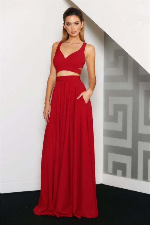 Shoulder Straps Crop Top Red Chiffon Long Evening Dress