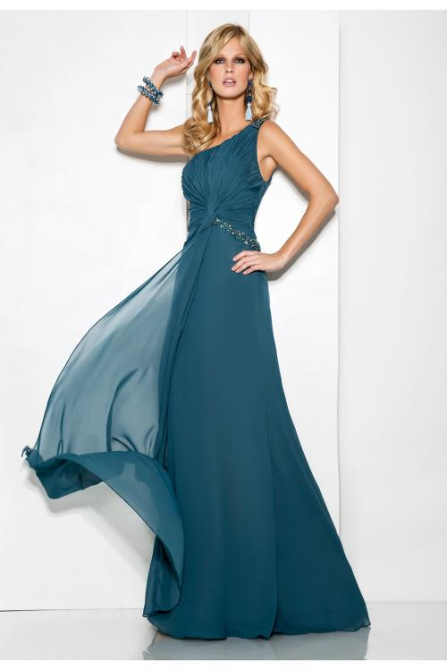 Simple Sheath/Column One Shoulder Beading Ruching Floor-length Chiffon Cocktail Dresses