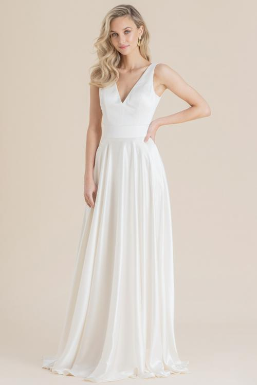 Two Piece A-line V-neck Sleeveless Sweep/Brush Train Long Wedding Dresses