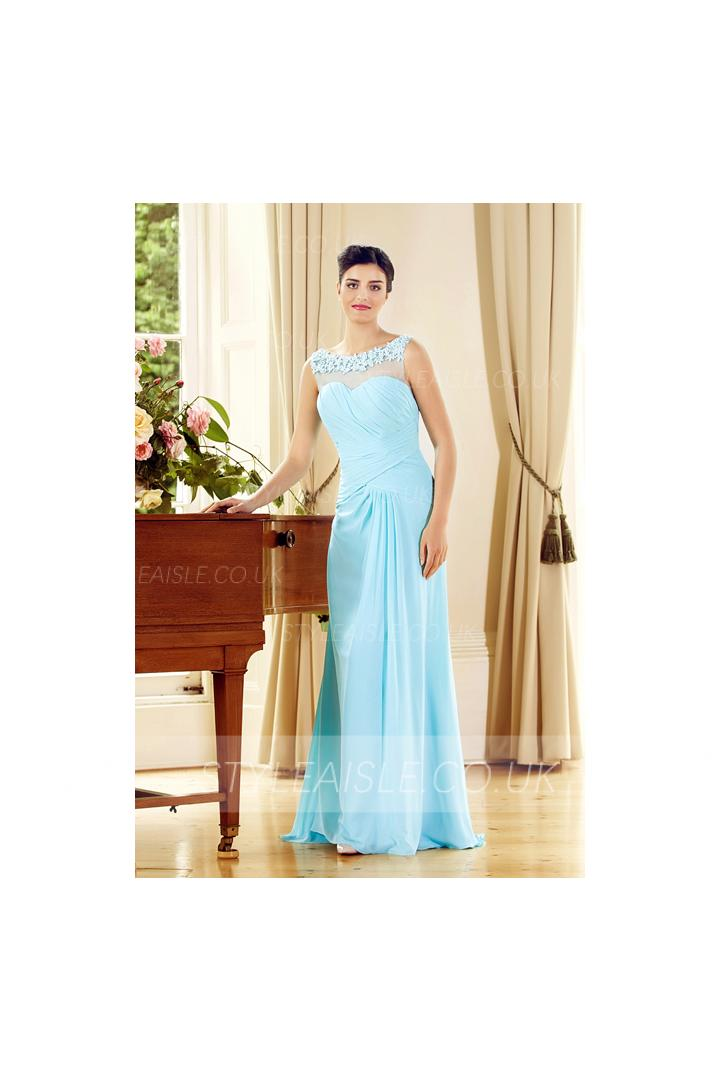 Sleeveless Illusion Neck Lace Appliques A-line Long Blue Chiffon Prom Dress