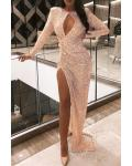 Sheath/Column Scoop Neckline Long Sleeves Split Sweep Train Long Sequins Evening Dresses