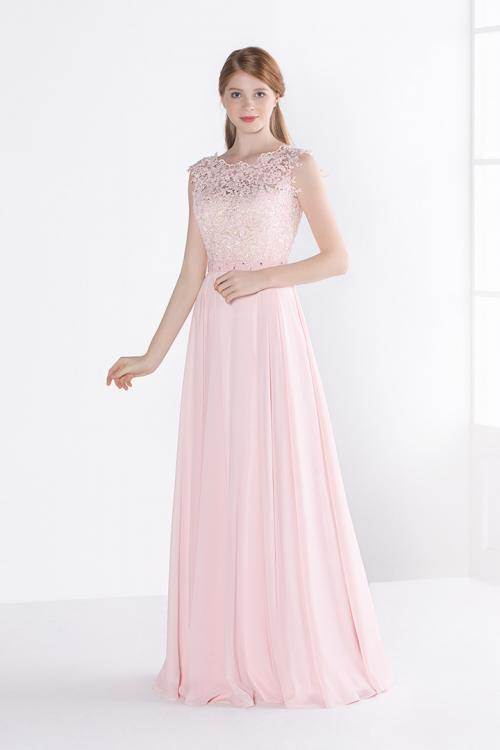 A-line Bateau Neck Sleeveless Lace Long Chiffon Bridesmaid Dress