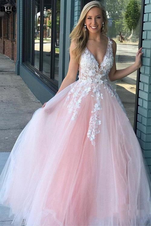 Elegant V-neck Sleeveless Lace Appliques Floor-length Long Tulle Prom Dress