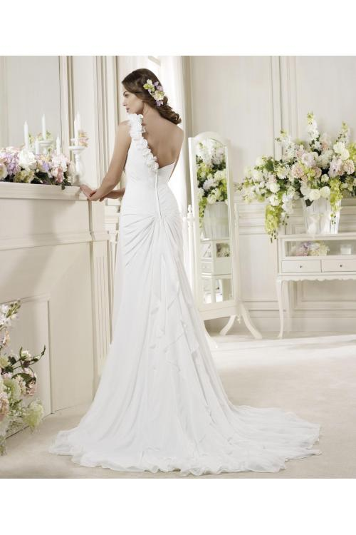 Simple Sheath/Column One Shoulder Hand Made Flowers Sweep/Brush Train Chiffon Wedding Dresses