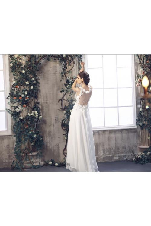 Sleeveless V Neck Empire Waist Flower Adorned Long Chiffon Wedding Dress