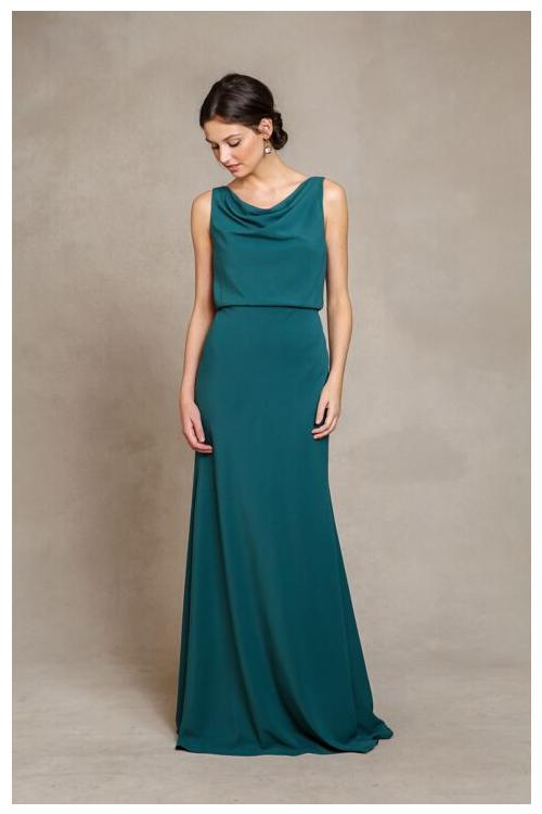 Chic Cowl Neck Casual Style A-line Teal Long Chiffon Bridesmaid Dress