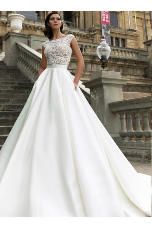Illusion Lace Bodice A-line Satin Wedding Dress