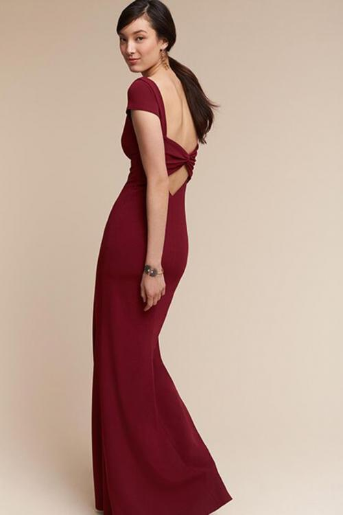 Trumpet/Mermaid Bateau Neck Short Sleeves Floor-length Long Evening Dresses