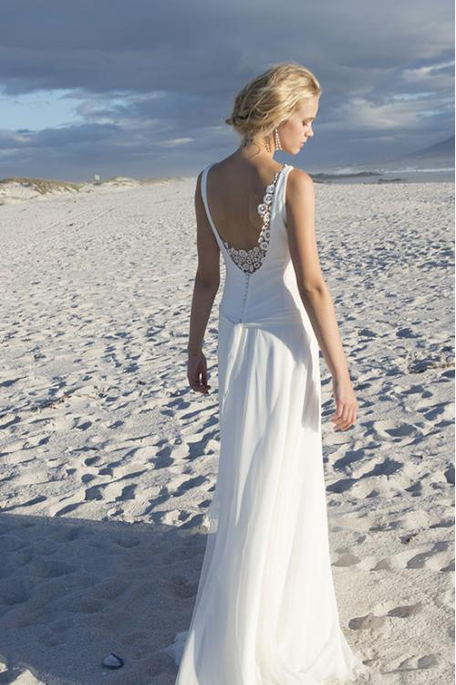 V Neck A-line White Chiffon Wedding Dress with Lace