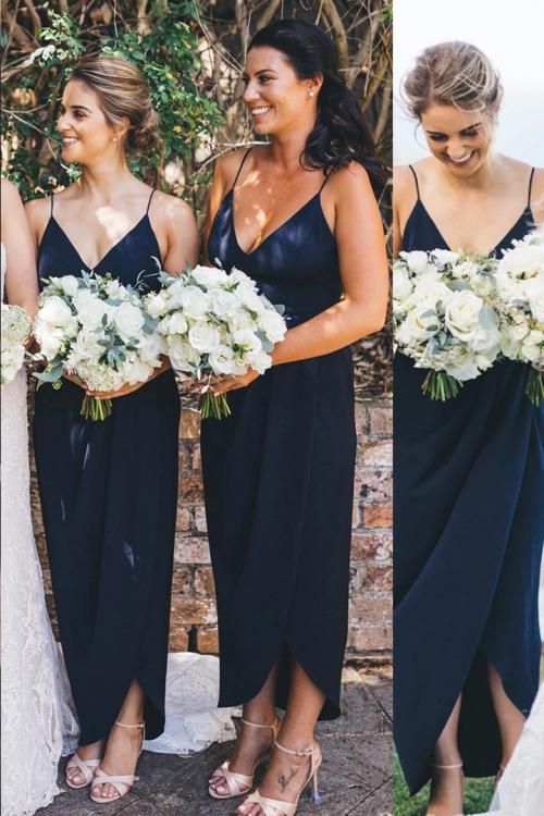 Cheap V-neck Sleeveless Split Ankle-length Simple Long Chiffon Bridesmaid Dresses