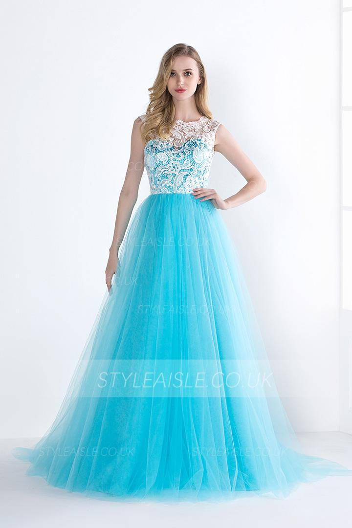 Elegant Lace Bodice Illusion Neck Long Ice Blue Tulle Prom Dress