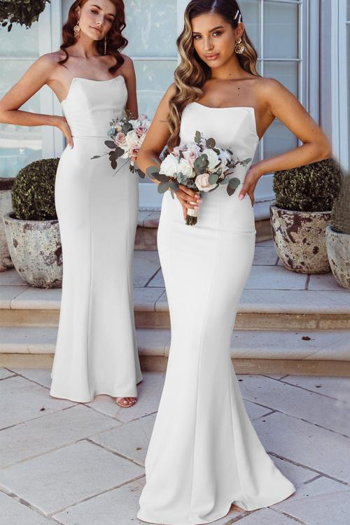 Simple Trumpet/Mermaid Strapless Sleeveless Floor-length Long Satin Bridesmaid Dress