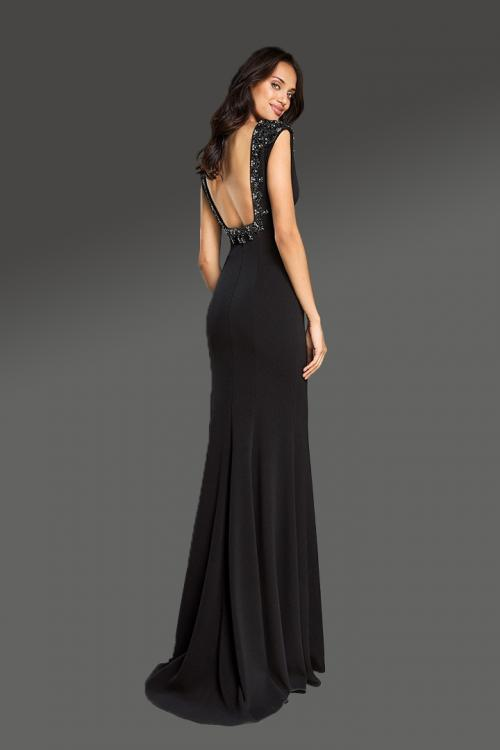 Trumpet/Mermaid Black V-neck Cap Sleeve Beading Sweep/Brush Train Long Jersey Cocktail Dresses