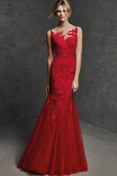 Floor-length Trumpet/Mermaid Bateau Neck Long Tulle Wedding Guest Dresses with Lace Appliques