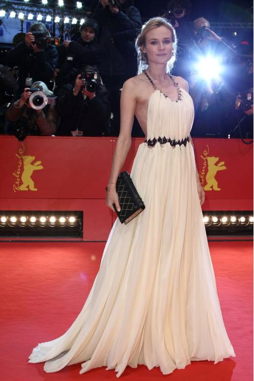 Diane Kruger Berlin Film Festival Backless Long Chiffon Prom Dress