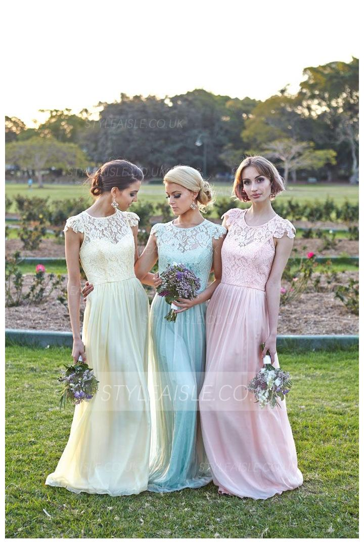 Illusion Bateau Neck Column Lace Bodice Long Chiffon Bridesmaid Dress