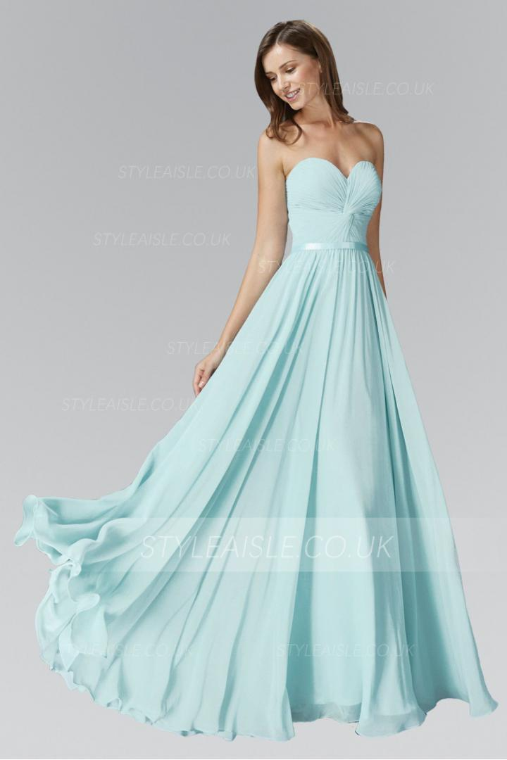 Beach Long Chiffon Strapless Sweetheart Pleated Bridesmaid Dress with Ribbon