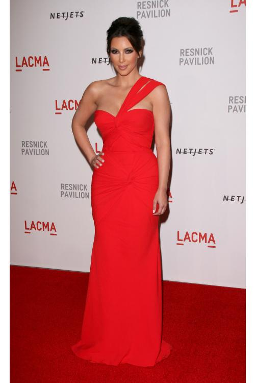 katie lee emmy awards Red Pleated Body Hug Long Chiffon Prom Dress