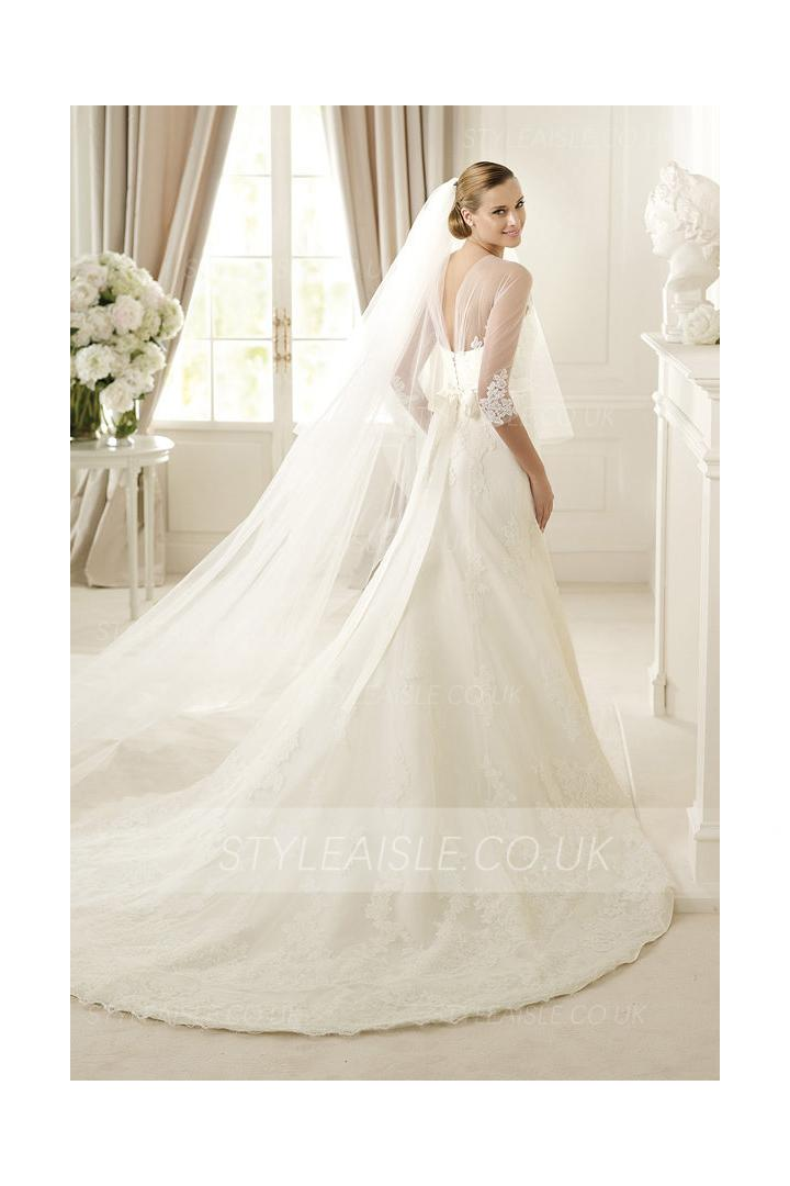 3/4 Sleeved Illusion Neck Lace Patterns overlay Organza Wedding Dress