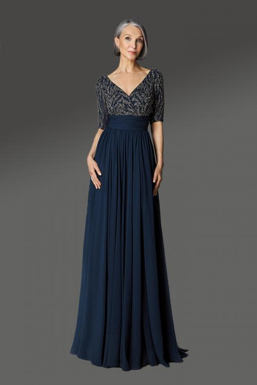 Designer A-line V-neck Half-Sleeves Beading Sweep/Brush Train Long Cocktail Dresses with Ruching Waist
