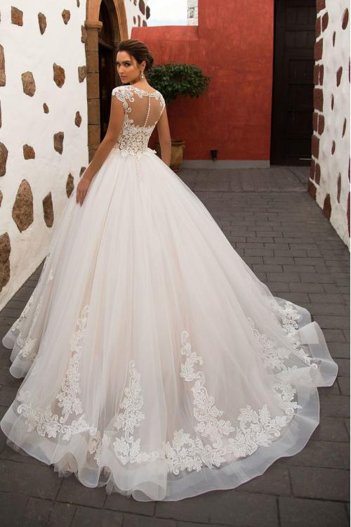 Vintage Illusion Neck Lace Pattern Blush Tulle Wedding Dress Cap Sleeves