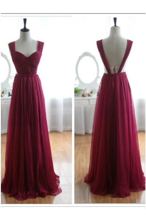 Shoulder Straps Pleated Bodice Side Cut Out A-line V Back Chiffon Trendy Prom Dress