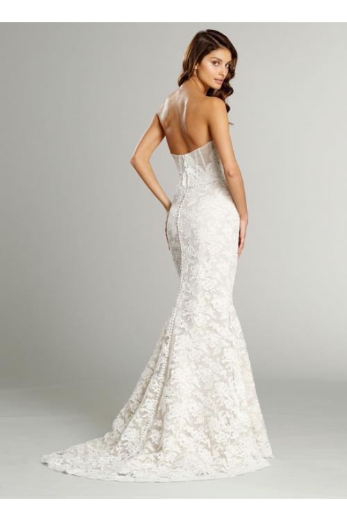 Strapless Sweetheart Lace Pattens Trumpet Wedding Dress