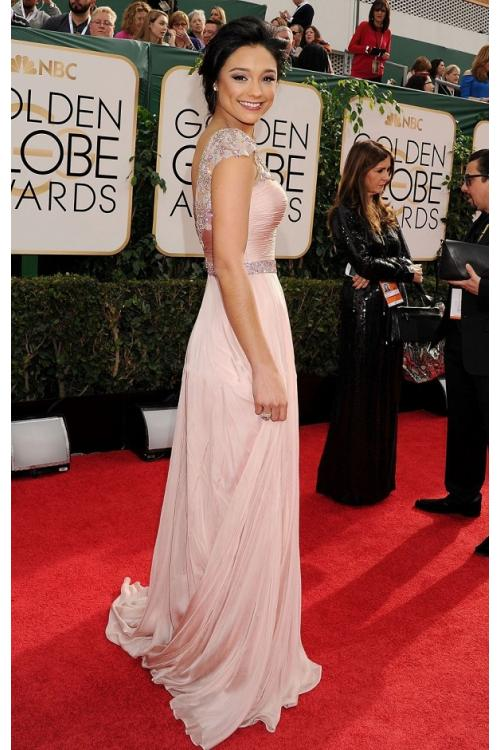Rachel Smith 71st Golden Globe Awards A-line Bateau Cap Sleeve Beading Long Blush Chiffon Prom Dress