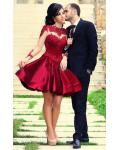 A-line Jewel Neck Stretch Satin Short/Mini Long Sleeved Ruby Red Prom Dresses