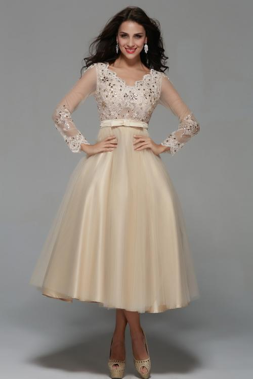 Long Sleeve Lace Tea Length A-line Champagne Tulle Short Prom Dress with Ribbon