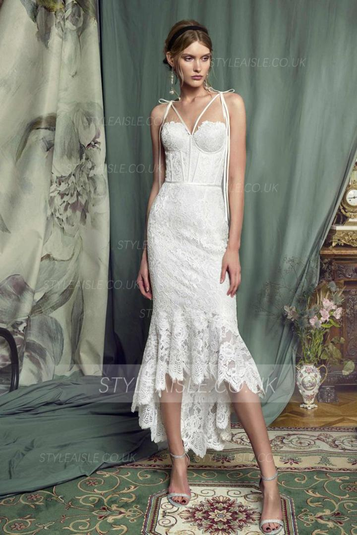 Trumpet/Mermaid Spaghetti Straps Sleeveless Lace Asymmetrical/High Low Short Prom Dress