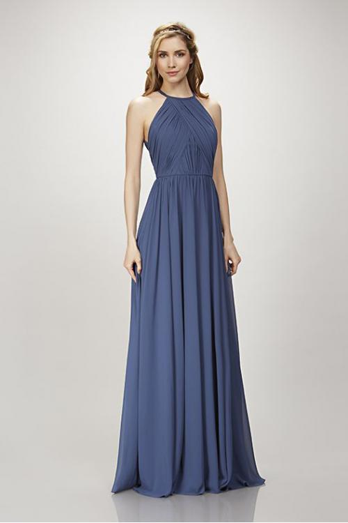 Sexy Halter Neck Sleeveless A-line Bridesmaid Dress for Beach Wedding