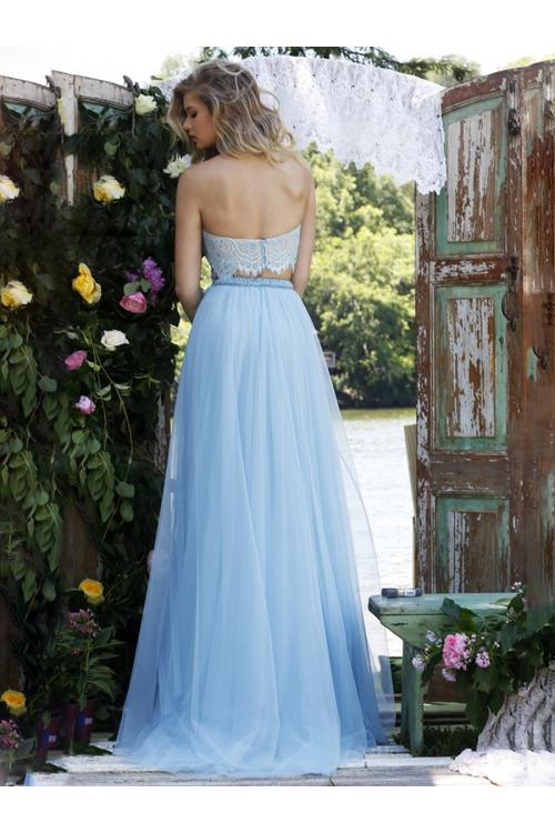 Chic High Neck Two Piece Sleeveless Low Back Tulle Prom Dress with Lace Bodice