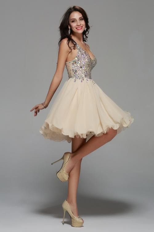 Knee Length Beading V Neck Champagne Chiffon A-line Prom Dress