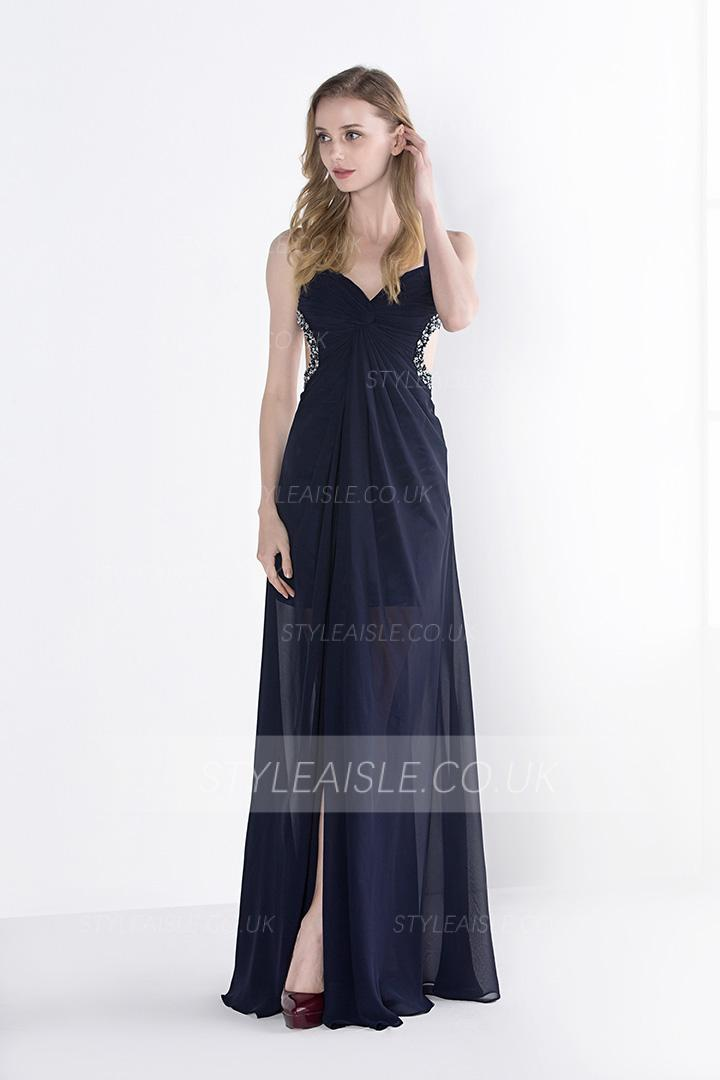Sexy A-line Shoulder Straps Beading Long Navy Chiffon Prom Dress