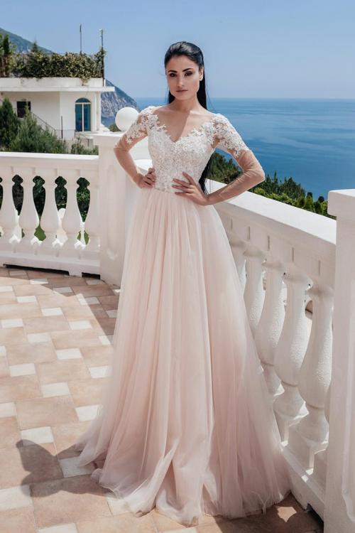 Illusion Jewel Neckline Long Sleeve Hade Lace Appliques Floor-length Long Tulle Wedding Dresses with Lace-up & Buttons Back