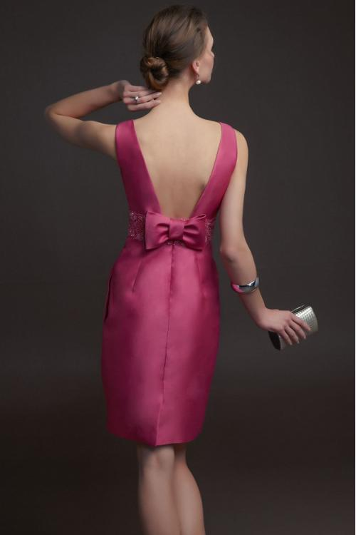 Charming Sheath Bateau Neck Beading&Sequins Bow(s) Pockets Short/Mini Satin Prom Dress