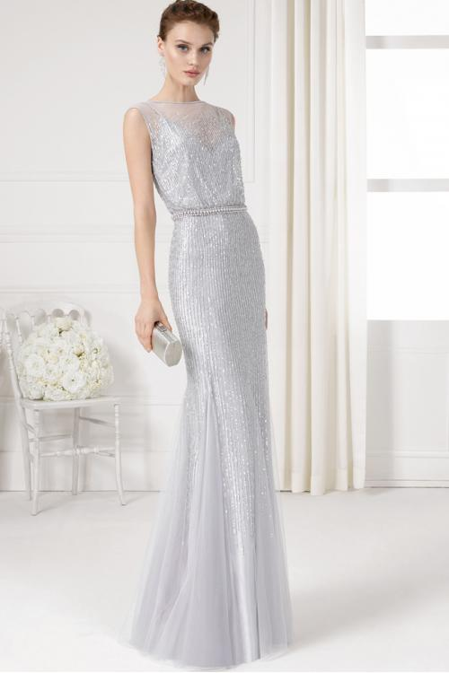 Illusion Bateau Neck Silver Sequin Beaded Sheath Tulle Bridesmaid Dress