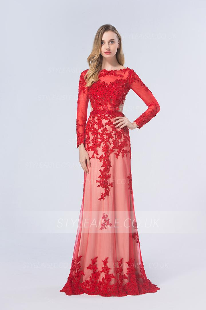 Red A Line Bateau Long Sleeve Beading Lace Long Prom Dress