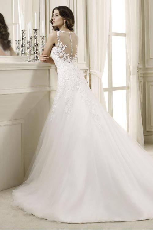 Charming A-line Bateau Straps Lace Sweep/Brush Train Tulle Wedding Dresses