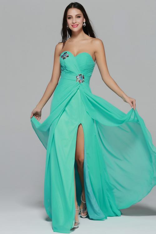 Strapless Sweetheart Beading A-line Long Green Chiffon Prom Dress
