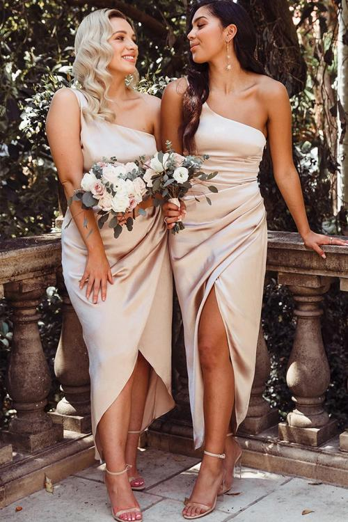 Simple One Shoulder Sleeveless Split Ankle-length Long Blush Stretch Satin Bridesmaid Dresses